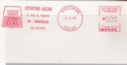 EMA  SPECIMEN SECAP  6-9-68  Orléans (45) Centre-Agri Engrais  Format  6 X 12 - Postmark Collection (Covers)