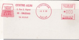 EMA  SPECIMEN SECAP  6-9-68  Orléans (45) Centre-Agri Engrais  Format  6 X 12 - EMA (Empreintes Machines à Affranchir)