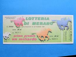 BIGLIETTO LOTTERIA MERANO 1986 - COMPLETO DI TAGLIANDO SPL - Biglietti Della Lotteria