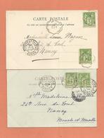 Marcophilie  Lot 2 Cpa Montpellier 1899 Pour Nancy - 1877-1920: Période Semi Moderne