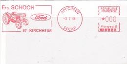 EMA  SPECIMEN SECAP   3-7-68  Kirchheim (67) Illustration Motoculteur Ford Format 6 X 12 - EMA (Printer Machine)