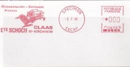 EMA  SPECIMEN SECAP   3-7-68  Kirchheim (67)  Moissonneuses Batteuses   Format 6 X 12 - EMA (Printer Machine)