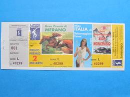 BIGLIETTO LOTTERIA MERANO MISS ITALIA SUSA MONCENISIO 1998 - COMPLETO DI MATRICE E TAGLIANDO FDS - Biglietti Della Lotteria
