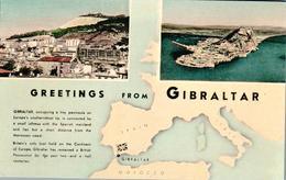 Carte 1950 Greetings From Gibraltar : Multivues Et Carte Géographique - Gibraltar