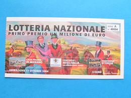 BIGLIETTO LOTTERIA MERANO MISS ITALIA MARATONA D'ITALIA 2004 - FDS - Biglietti Della Lotteria