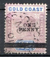 AFRIQUE - COTE DE L'OR - (Colonie Britannique) - 1889-1902 - N° 36 - 1 P. S. 2 1/2.violet-gris Et Bleu - (Victoria) - Costa D'Oro (...-1957)