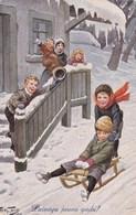 Arthur Thiele.Boys On Sledge.TSN Nr.1639(6 Dess) - Thiele, Arthur