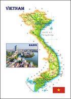 Vietnam Country Map New Postcard Landkarte AK - Vietnam