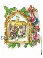 Pop Up Card. Sainte Famille à La Crèche Et Boules De Noël. Paillettes. Signée Zsolt. - Noël