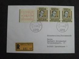 Auslands - Rejo - Brief Linz - Leverkusen, Mit Automatenmarke A 34 + Dreifachfrankatur 1988 - 1945-.... 2nd Republic