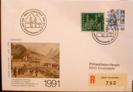Schweiz Suisse 19891 Zu 393+741 Mi 766+1325 Yv 660+1231 Auf R-Brief Mit O EINSIEDELN 29.11-1.12.891 TAG DER BRIEFMARKE - Tag Der Briefmarke