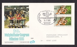 Germany: Cover To Austria, 1985, 2 Stamps, Special Cancel, Scouting, Scouts, Conference, Camping (few Pencil Numbers) - Covers & Documents