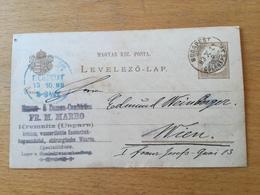 FL3566 Ungarn Ganzsache Stationery Entier Postal P 14 Von Budapest Nach Wien - Interi Postali