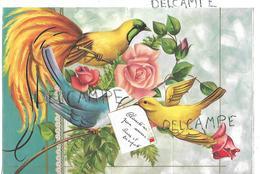 Pop Up Card. Oiseau De Paradis Et Branches De Rosier. Signée M. Rainaud - Feiern & Feste