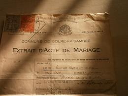 Ancien  Acte De Mariage 1929 SOLRE -SUR-SAMBRE Entre DUWELLE Auguste Et BRISON Emilie - Wedding