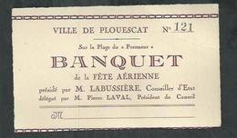 Invitation Pour Le Banquet De La Ville De Plouescat Pour La Fête Aérienne De 1931 - Cartes De Visite