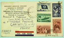 Lettre Avion 1950 Nashville Cancer Research Lab. --> Institut Pasteur, Garches, Affr. 15c - United States