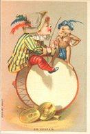 Image Chromo Cirque Théâtre Saltimbanque Clown Singe Musicien Grosse Caisse - Chromos