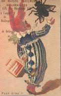 Image Chromo Cirque Théâtre Saltimbanque Clown Mouche Au Marché Ménilmontant Literie Chaussures Chapellerie - Chromos