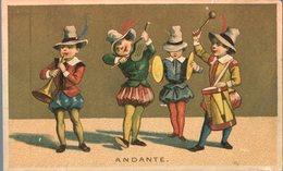Image Chromo Doré Cirque Théâtre Saltimbanque Clown Musiciens  Andante Sirop Maxicain - Chromos