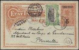 CONGO - Entier Stibbe  31 T3 T - Réponse +5c Bilingue 1910  - BASOKO Vers Bruxelles 1913 - RRR - PE4 - Enteros Postales