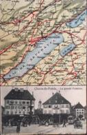 CPA, Chaux De Fonds,2 Parties: Carte Routière-Stadt/Ville; Flecken/Bourg, Route, Sentier..- Et La Grande Fontaine, 1907 - NE Neuchâtel