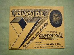 Buvard Pub L'ovoïde Boulet Charbon Mine De Graissesac Hérault - Gas, Garage, Oil