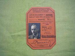 Carte De Surclassement SNCF 1938/1939  Montel Pierre - Titres De Transport