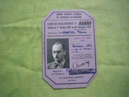 Carte De Surclassement SNCF 1937/1938 Montel Pierre - Titres De Transport