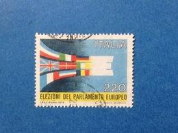 1979 ITALIA ELEZIONI PARLAMENTO EUROPEO 220 LIRE FRANCOBOLLO USATO ITALY STAMP USED - 6. 1946-.. Repubblica