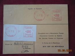 Carte De Contrôle Et D'entretien Des Machines SATAS De Albi RP Annexe 1 De 1982 - Marcophilie (Lettres)