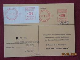 Carte De Contrôle Et D'entretien Des Machines SATAS De Draguignan St Leger GA De 1983 - Storia Postale