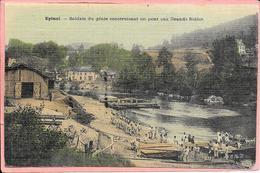 Epinal - Soldats Du Génie Construisant Un Pont Aux Grands Sables Toilée Colorisée - Epinal