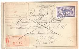 BOURGES CHER Lettre Recommandée 60c Merson Yv 144 Dest Saligny Le Vif/Bengy Sur Craon  Retour Envoyeur - Covers & Documents
