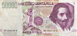 Italy 50.000 Lire, P-116c (27.5.1992) - Fine - [ 2] 1946-… : Repubblica