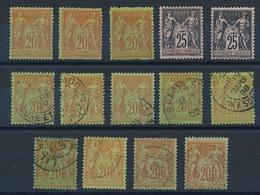 DI-663: FRANCE: Lot Avec N°96*(3)-97*(2)-96 Obl (9) - 1876-1898 Sage (Type II)