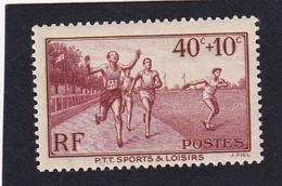 FRANCE 1937 - YT N°346 - 40 C. +10 C. Brun-rouge - Au Profit Des Oeuvres Sociales Et Sportives PTT - Neuf** - TTB Etat - France