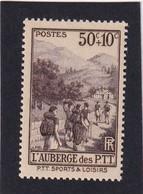 FRANCE 1937 - YT N°347 - 50 C. +10 C. Brun-violet - Au Profit Des Oeuvres Sociales Et Sportives PTT - Neuf** - TTB Etat - France