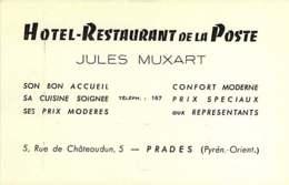 240320 - CARTE DE VISITE - 66 PRADES Hôtel Restaurant De La Poste JULES MUXART 5 Rue De Châteaudun - Prades