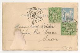 Bel Affranchissement Composé à 25c, CALAIS, PAS DE CALAIS Pour BIGLEN Suisse. - 1877-1920: Période Semi Moderne