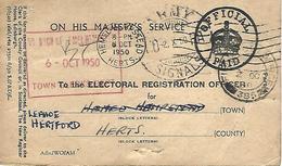 Hong Kong 1950 FPO 385 Kowloon Army Signals HO RA Postmark Official Paid Card. Rare - Hong Kong (...-1997)