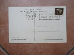 27.9.1932 Targhetta Meccanica Viaggio Inaugurale GENOVA NEW YORK Su Cartolina Nave REX - 1900-44 Victor Emmanuel III