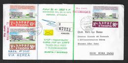 ETIOPIA ETHIOPIA REGISTERED ASMARA TO ROMA 1970 POST OFFICE BUILDINGS FIRST DAY ISSUE - Etiopia