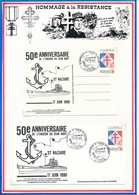 FRANCE - CARTE + ENVELOPPE 50EME ANNIVERSAIRE DE L EVASION DU JEAN BART SAINT NAZAIRE 17 JUIN 1990 19 JUIN 1940 4H MATIN - Guerre Mondiale (Seconde)