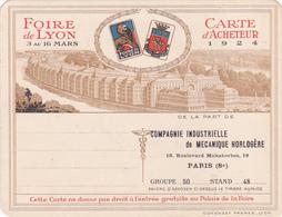 Cpa/vieux Papier-69-lyon-foire Internationale 1924-carte D'acheteur (Cie Industrielle Mecanique Horlogere Paris 8e )-JAZ - Lyon