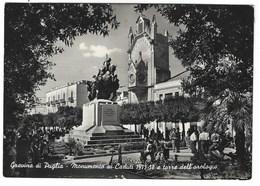 4683 - GRAVINA DI PUGLIA MONUMENTO AI CADUTI E TORRE DELL' OROLOGIO ANIMATA 1954 - Italie