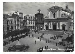 4693 - TORRE DEL GRECO PIAZZA S CROCE 1955 ANIMATA AUTOMOBILI - Torre Del Greco