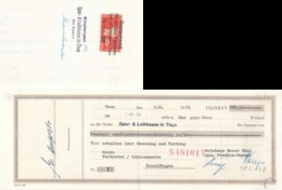"Wechsel  ""Spar- & Leihkasse Thun""           1961 - Svizzera"