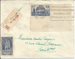 1938 - N° 399 Et 400 (Coin De Feuille) Oblitérés (o) Sur Lettre RECOMMANDEE : VERSAILLES NOTRE-DAME - Lettres & Documents