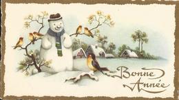 MIGNONNETTE ILLUSTRATEUR MIGNONNETTE BONNE ANNEE JOYEUX NOEL ILLUSTRATEUR  BONHOMME DE NEIGE VILLAGE OISEAUX - Christmas